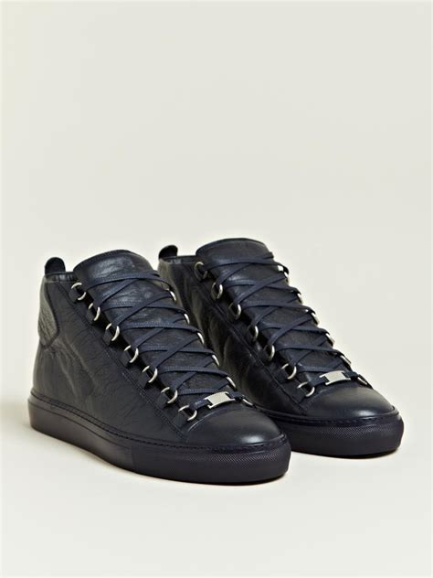 mens balenciaga arena sneakers balenciaga mens high top arena trainers in blue for lyst