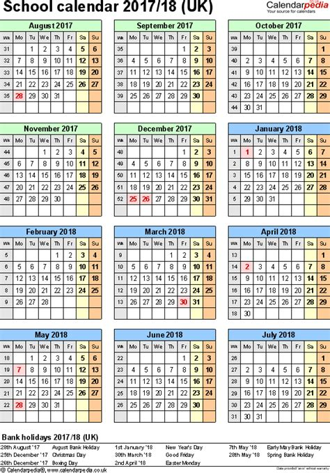 academic calendar year template school calendars 2017 2018 as free printable excel templates