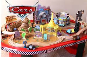 Lightning Mcqueen Car Table Cars 1 Radiator Springs Race Track And Table Wooden