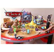 Cars 1 Radiator Springs Race Track And Train Table Wooden Disney