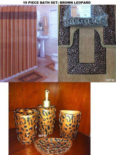 brown zebra bathroom set 19 piece bath accessory set brown leopard bathroom rugs