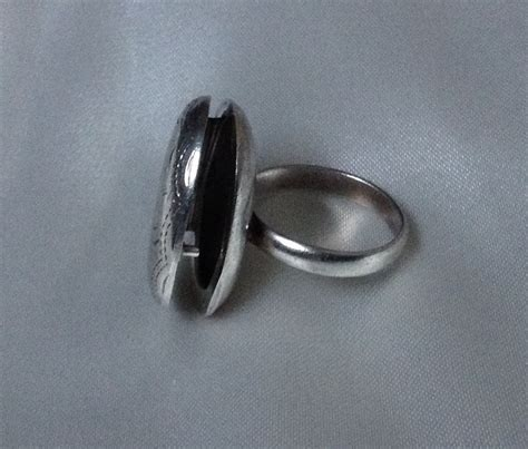 antique poison ring etched silver