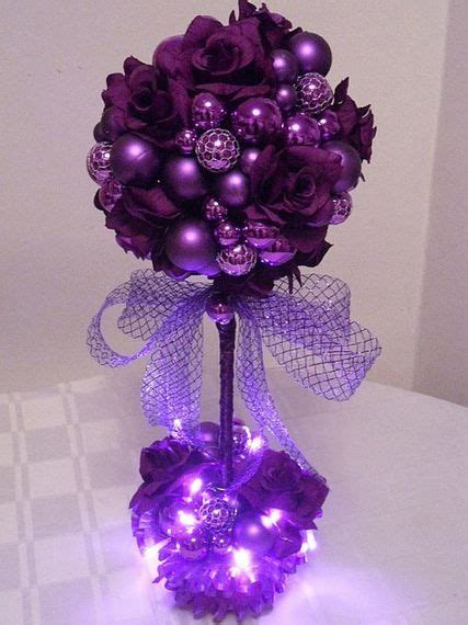 Purple Passion Topiary Trees Tabletop Decor Winter Ready Made Wedding Centerpieces