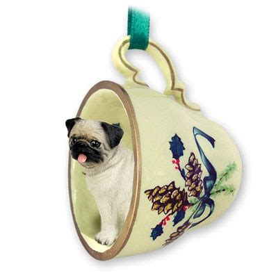 oldest pug on record pug fawn tea cup green ornament