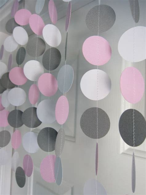 Pink And Grey Elephant Baby Shower Decorations by Pink And Gray Garland Paper Garland Birthday Garland