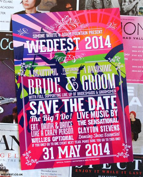 Festival Flyer / Poster Wedding Save the Date Cards   WEDFEST