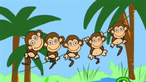 5 little monkeys swinging on a tree five little monkeys swinging in a tree youtube