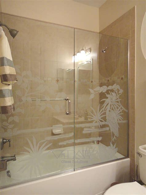 Etched Glass Shower Doors by Frameless Shower Enclosures Orlando Bathroom Shower Doors