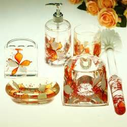 Modern Orange Bathroom Accessories Beautiful Orange Flowers Acrylic Bathroom Accessory Sets