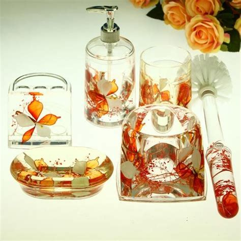 orange bathroom accessories set beautiful orange flowers acrylic bathroom accessory sets