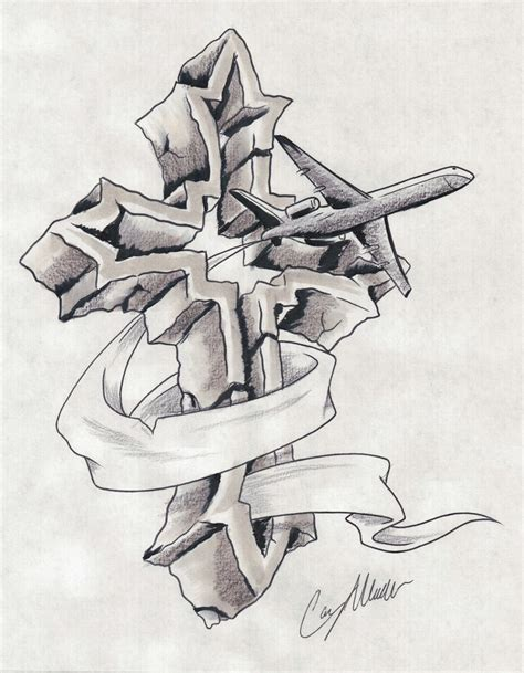 3d cross tattoo designs grey ink 3d cross and flying plane design