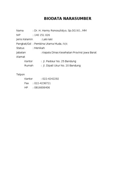 Format Biodata Narasumber | biodata narasumber