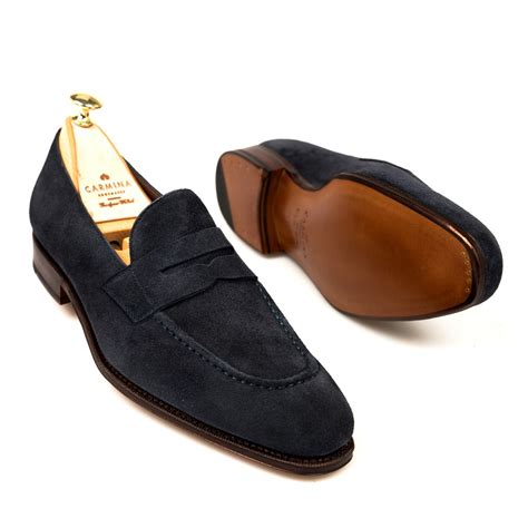 navy suede dress loafers carmina shoemaker