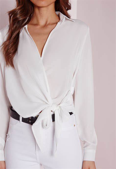 White Wrap Blouse With Tie by Missguided Wrap Tie Side Blouse Ivory In White Lyst