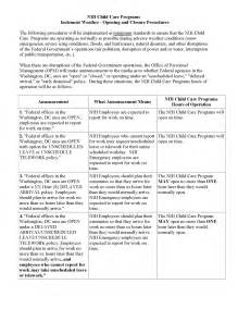 Inclement Weather Policy Template by Nih Child Care Centers
