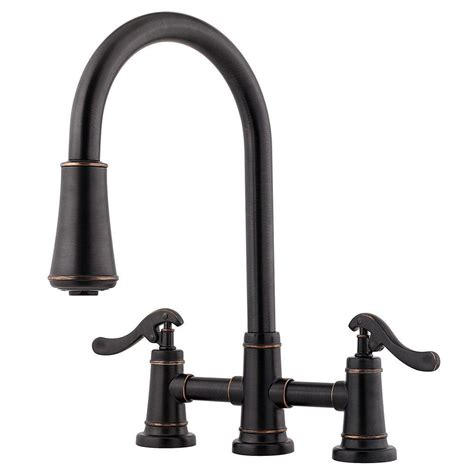 pfister ashfield  handle pull  sprayer kitchen faucet  tuscan bronze lg ypy  home