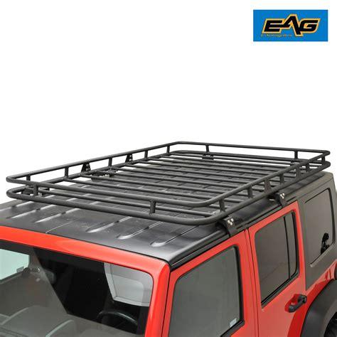4 door jeep drawing eag black steel roof rack cargo basket for 07 17 jeep