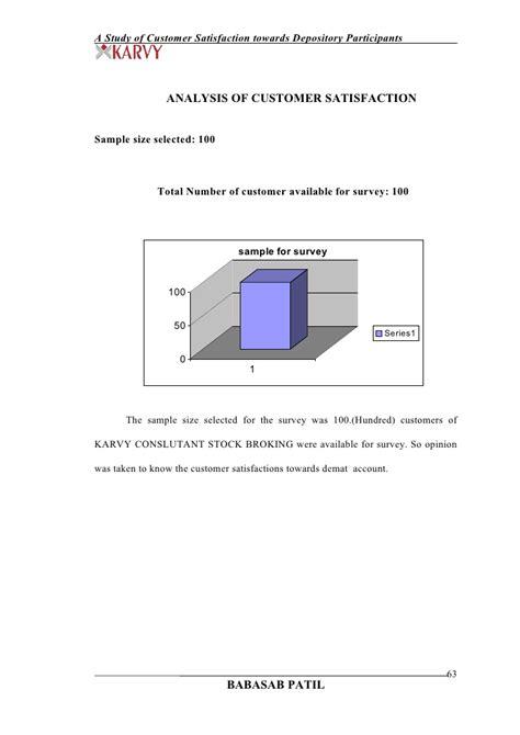 Dematerialisation Of Securities Mba Project by Customer Satisfaction Towards Karvy Stock Exchange Project