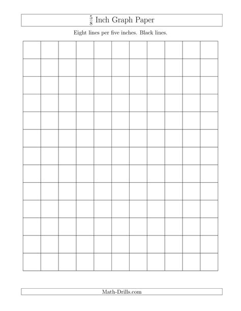 5/8 Inch Graph Paper with Black Lines (A) Graph Paper