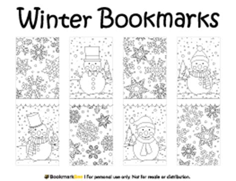 winter bookmarks coloring page bookmark bundle