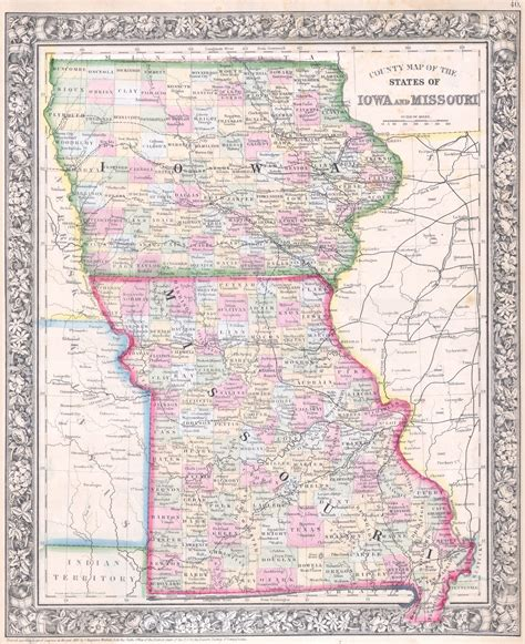 missouri border map file 1864 mitchell map of iowa and missouri geographicus