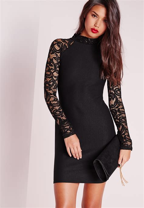V Slim Dress Black W6966ni D black sleeve lace dress oasis fashion