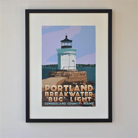 lighting stores portland maine portland breakwater bug light art print 24 quot x 36 quot travel