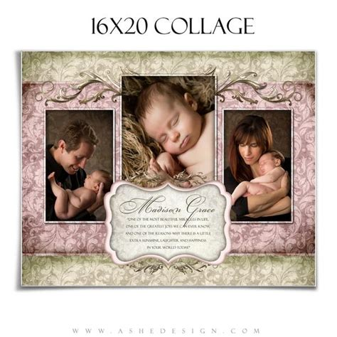 collage template baby ashedesign collage template 16x20 grace ashedesign
