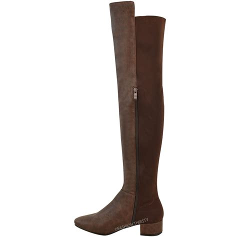 the knee boots flat new womens the knee flat boots calf