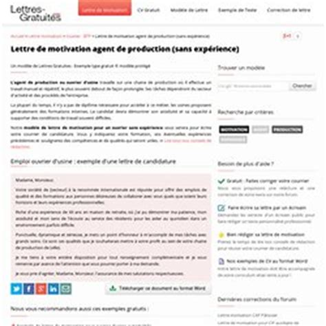 Lettre De Motivation Ouvrier De Production lettre de motivation de production sans exp 233 rience