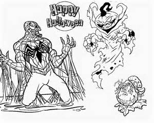 evil spiderman scary pumpkin halloween coloring pages