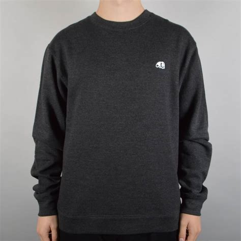 Sweater Skateboarding enjoi skateboards panda patch crewneck sweater charcoal skate clothing from