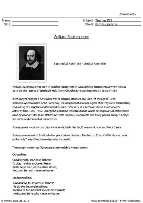 biography reading comprehension ks2 william shakespeare comprehension primaryleap co uk