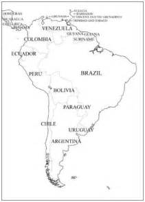 South America Country Outlines by Outline Map Of South America For