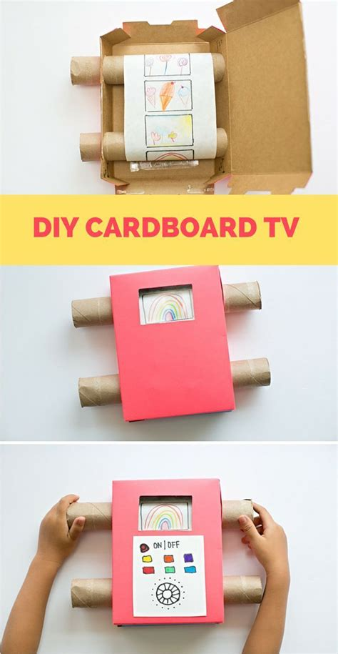 diy channel easy diy recycled cardboard tv showing off your kids art