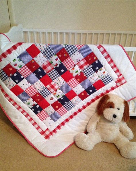 baby crib quilt white blue baby from angiespatch