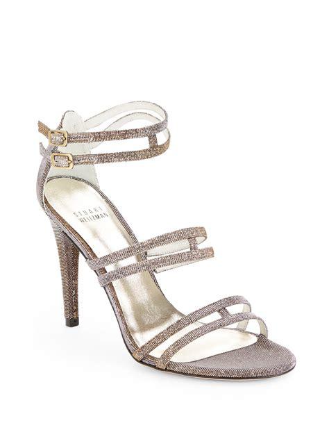 traffic sandals stuart weitzman traffic glitter evening sandals in silver