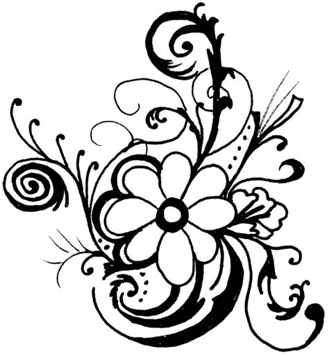 free black and white flower design download free clip art