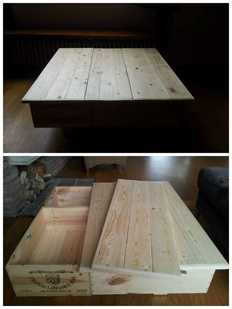 wine box coffee table with pallet top 1001 pallets
