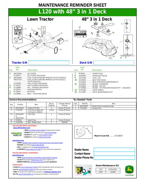 John Deere L120 User Manual 1 Page Also For L130
