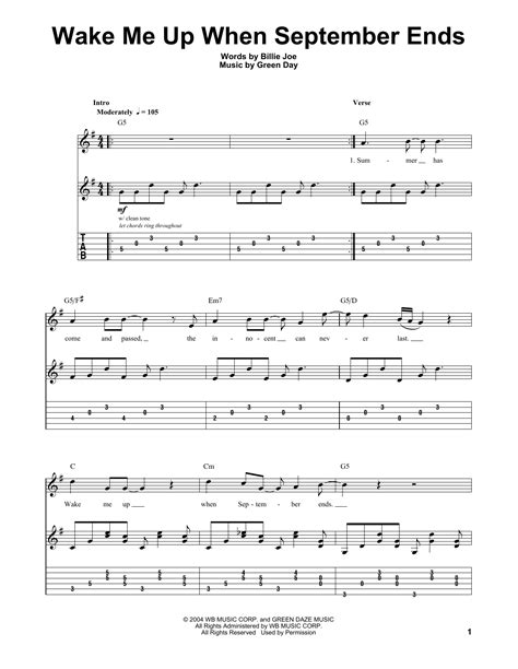 tutorial guitar wake me up wake me up when september ends by green day guitar tab