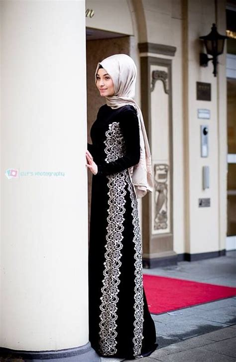 design dress hijab long sleeve dress with lace design muslimah fashion