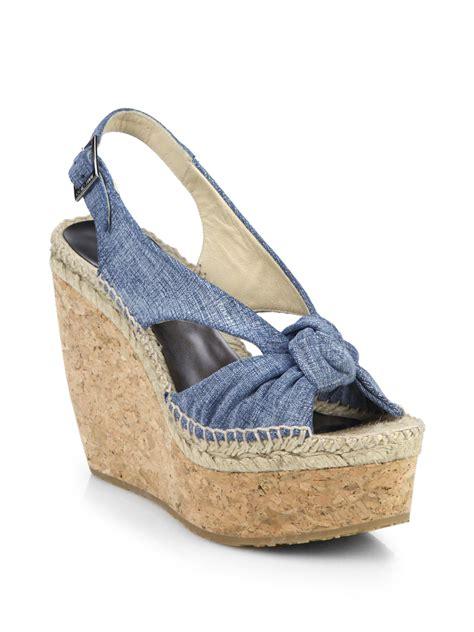 jimmy choo parisa knotted denim cork wedge sandals in blue