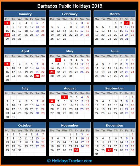 Barbados Calend 2018 Barbados Holidays 2018 Holidays Tracker