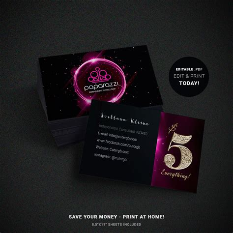 Paparazzi Business Cards Free