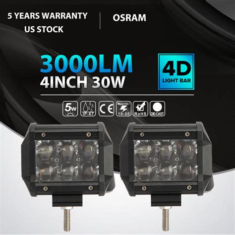 2x 30w 4 quot osram led work light bar spot beam road 4wd ute suv fog driving l