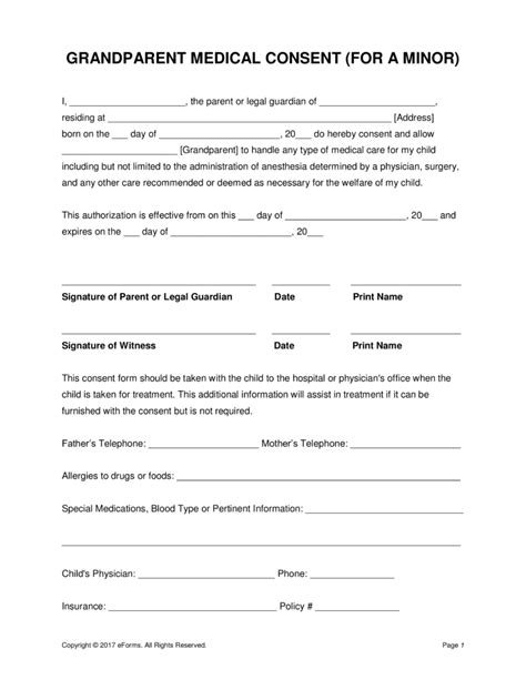treatment authorization letter for a minor grandparents consent form minor child