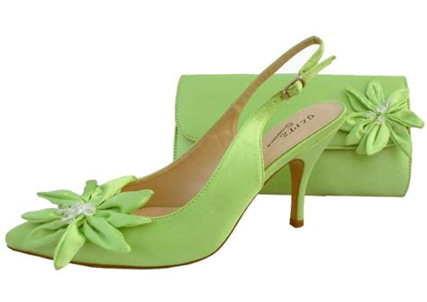 lime green evening shoes and matching bag