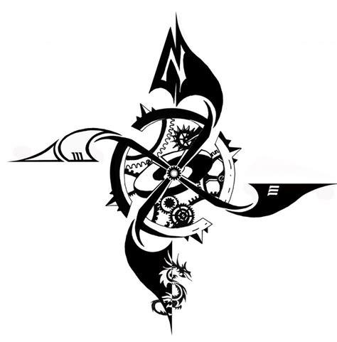 compass tribal tattoo compass clipart best