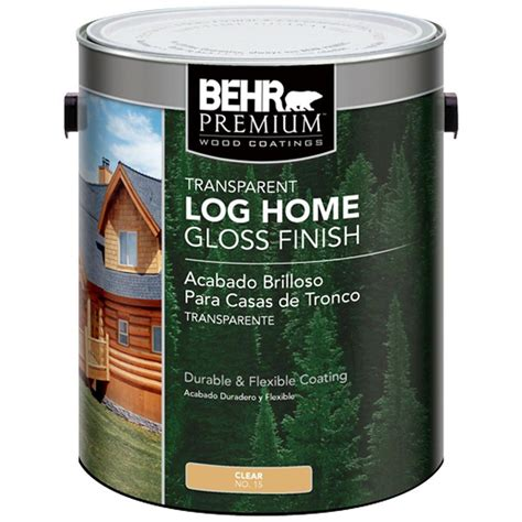 behr premium  gal clear gloss finish log home